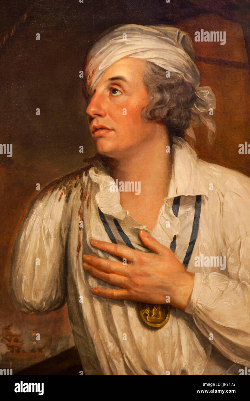 England, London, Greenwich, National Maritime Museum, Portrait of Rear-Admiral Sir Horatio Nelson showing his Injuries during The Battle of The Nile by Guy Head dated 1800 - Stock Image