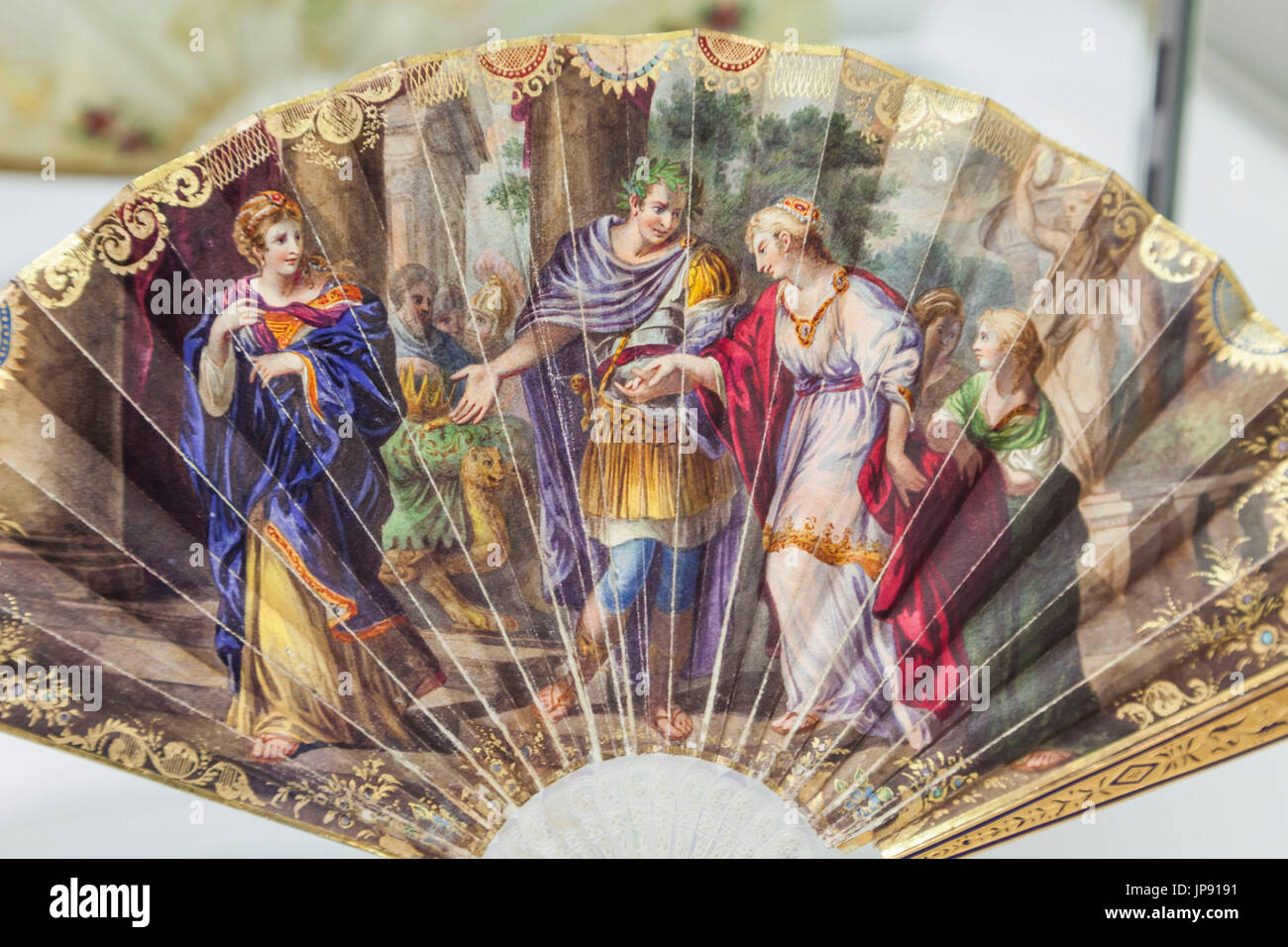 England, London, Greenwich, The Fan Museum, Display of Historical French Fan dated 1810 depicting Caesar Restoring Cleopatra to her Throne - Stock Image