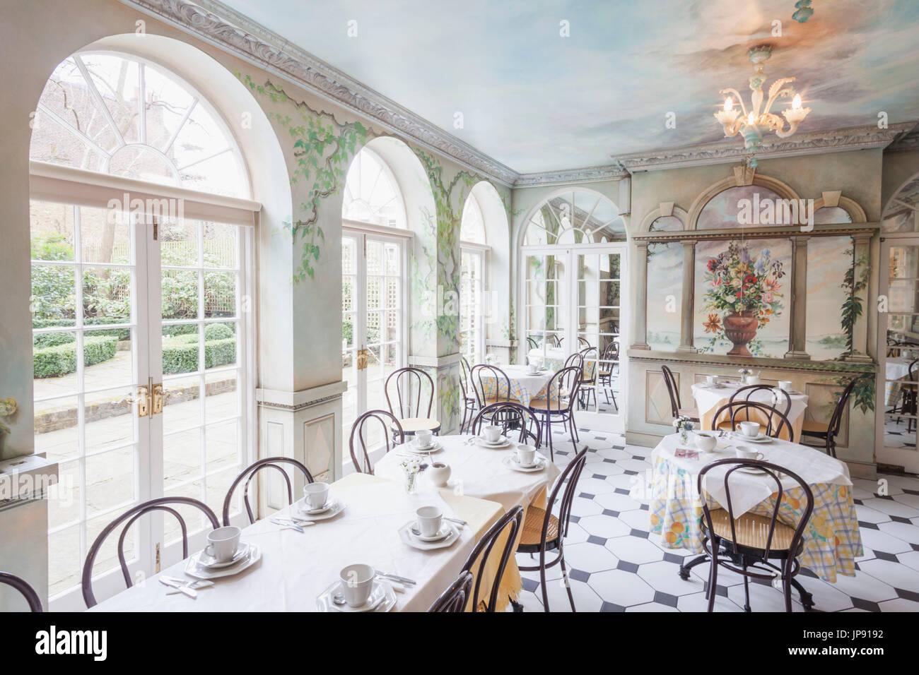 England, London, Greenwich, The Fan Museum, The Orangery Tearoom - Stock Image