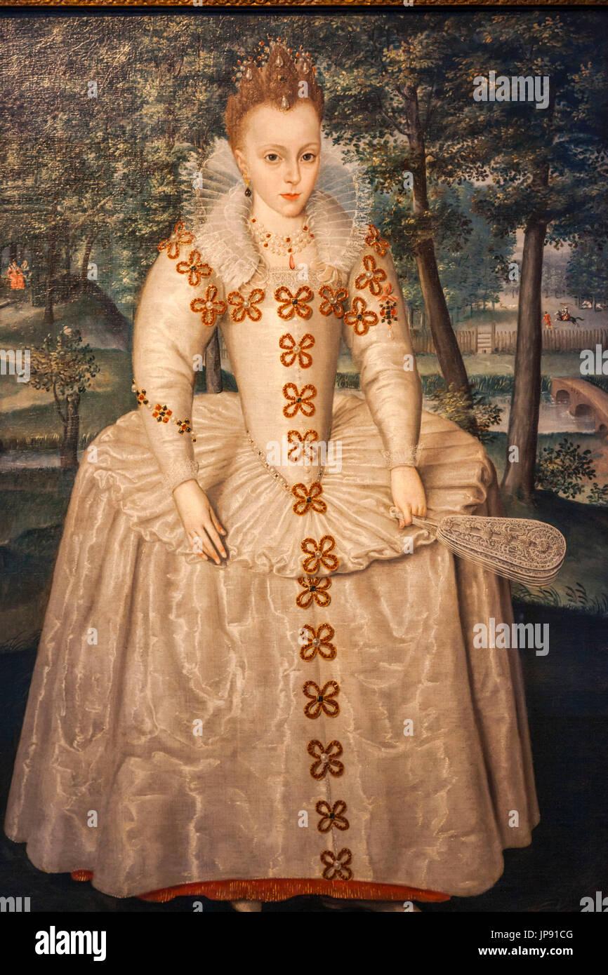 England, London, Greenwich, The Queen's House, Portrait of Princess Elizabeth (Elizabeth of Bohemia) by Robert Peake the Elder dated 1603 - Stock Image