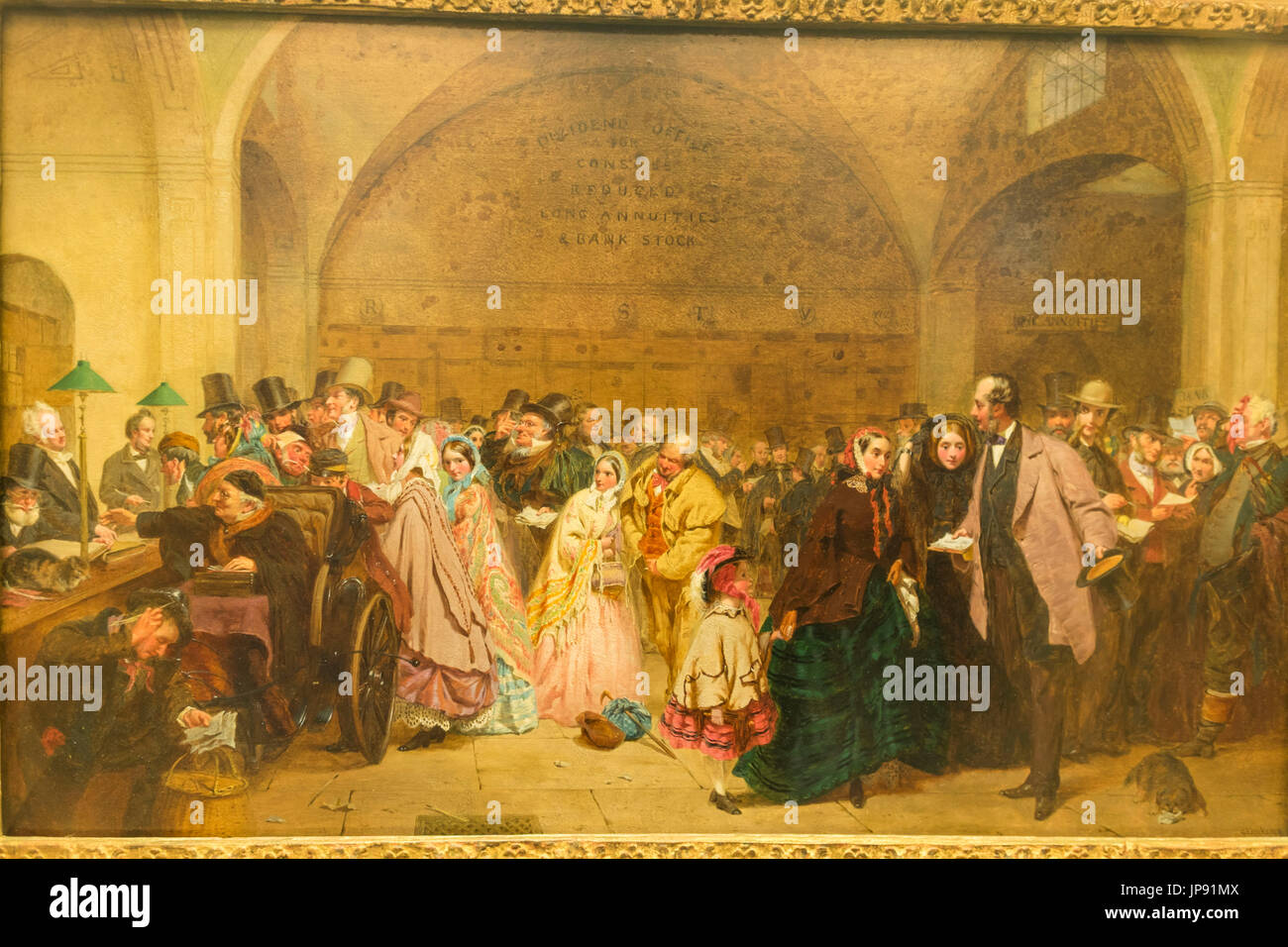 England, London, The City, Bank of England Museum, Painting of Dividend Payment Day in The Dividend Office - Stock Image