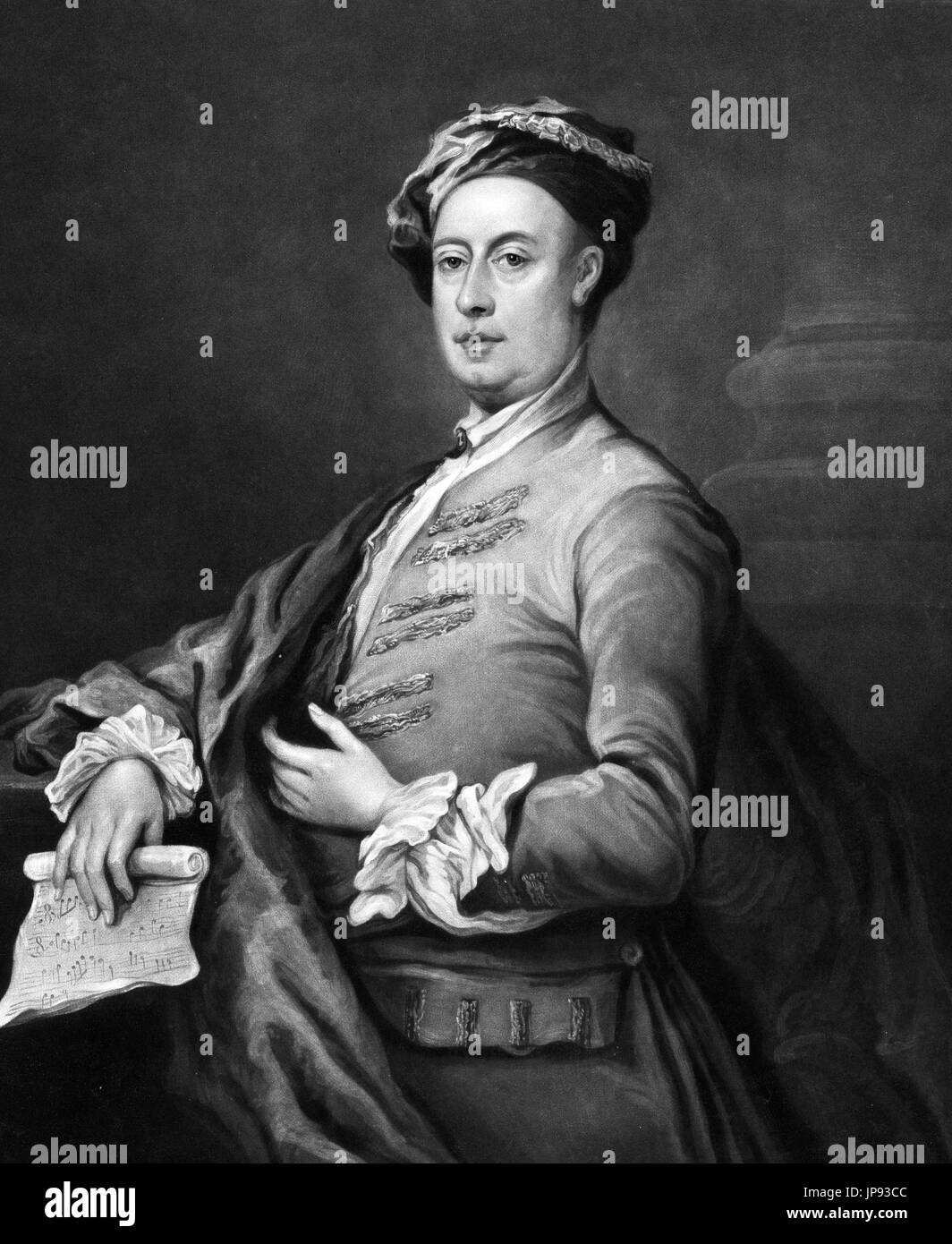 George Frideric (or Frederick) Handel (1685-1759), an 1821 engraving by C Turner from a portrait  by William Hogarth - Stock Image