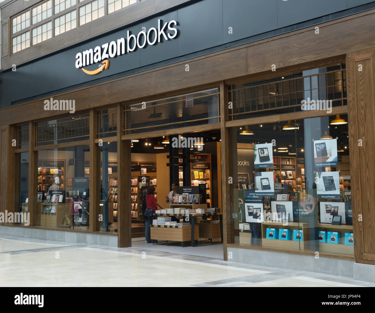 Amazonbooks retail store exterior in a mall, northern NJ - Stock Image