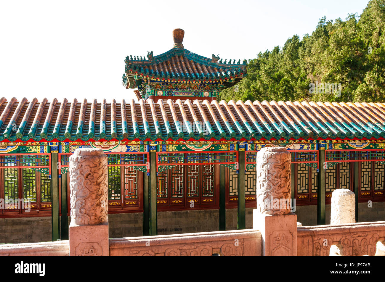 Courtyards, The Pavilion of Buddhist Incense, The Summer Palace, Beijing, China - Stock Image