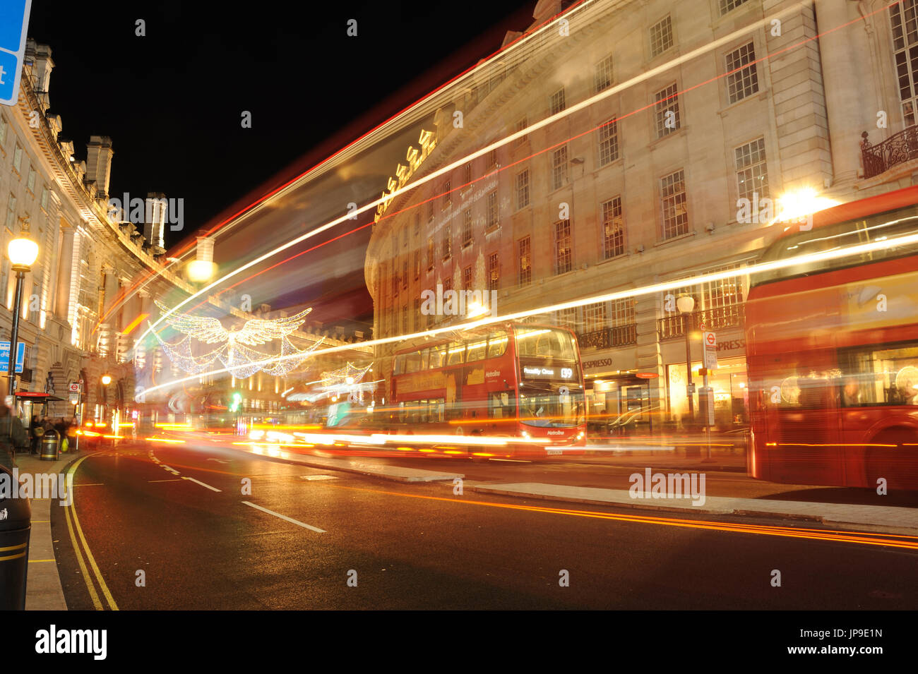 London Piccadilly, Night Light Trails - Stock Image