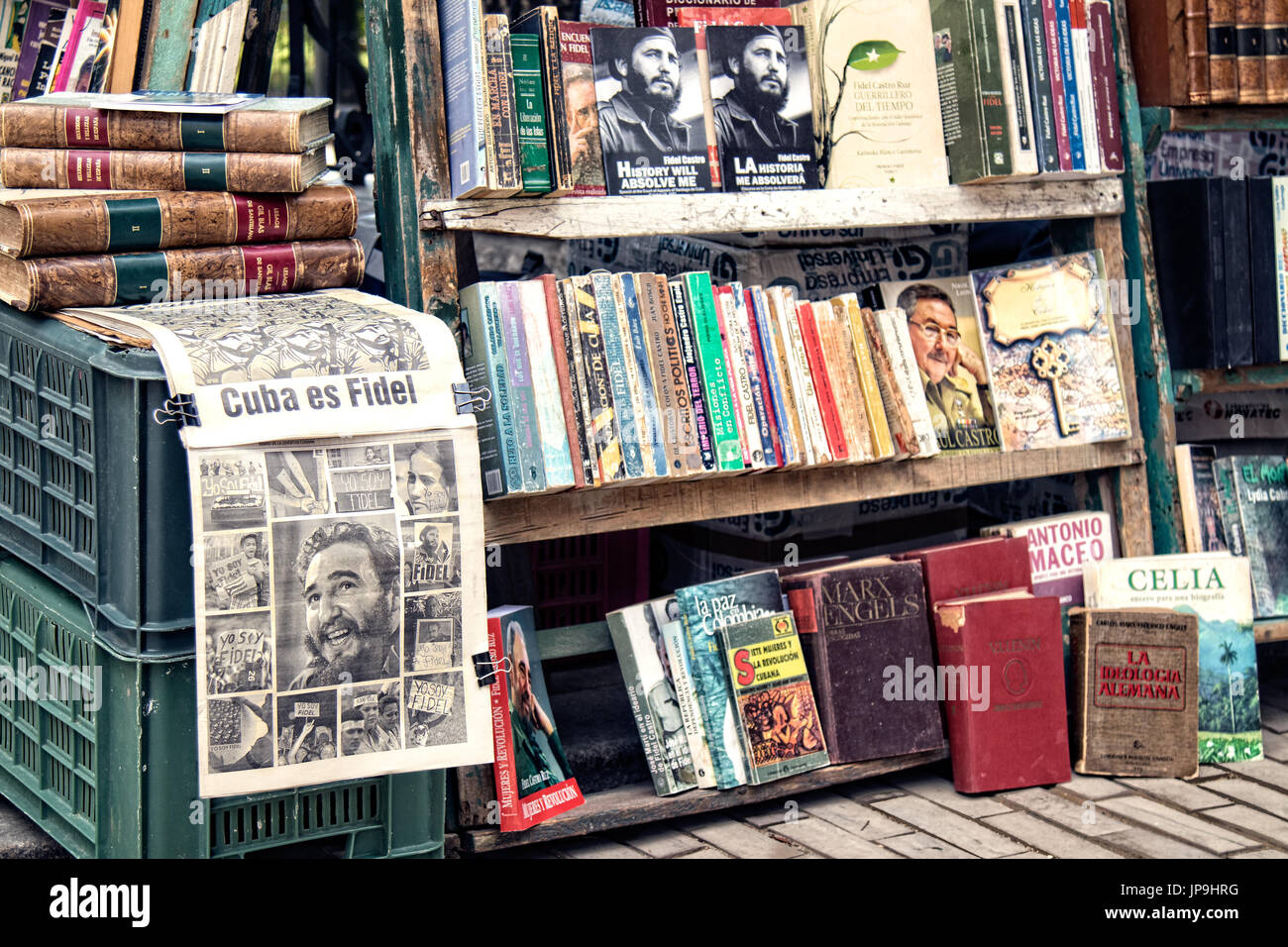 Books and newspapers about and written by Fidel Castro in Havana, Cuba. Stock Photo