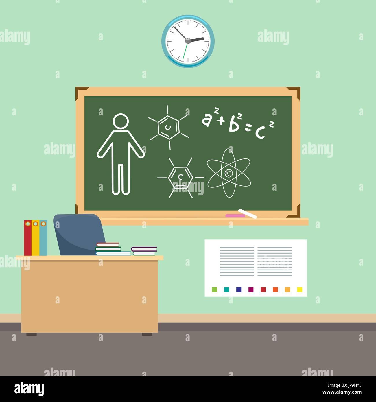 School Classroom Interior Design. Vector Back To School Background