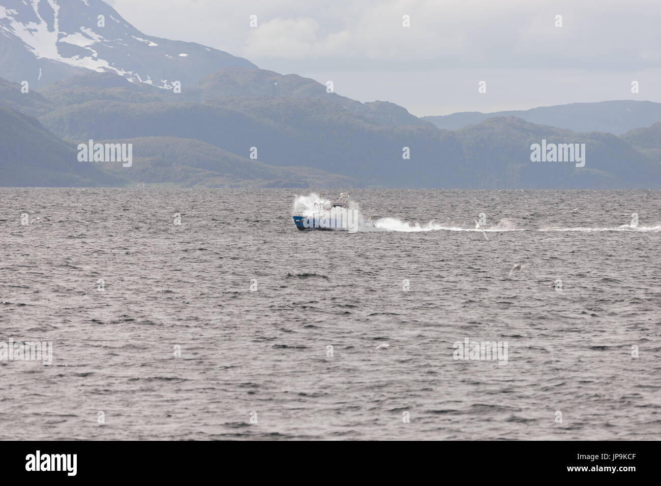 boat blue ocean drive driving - Stock Image