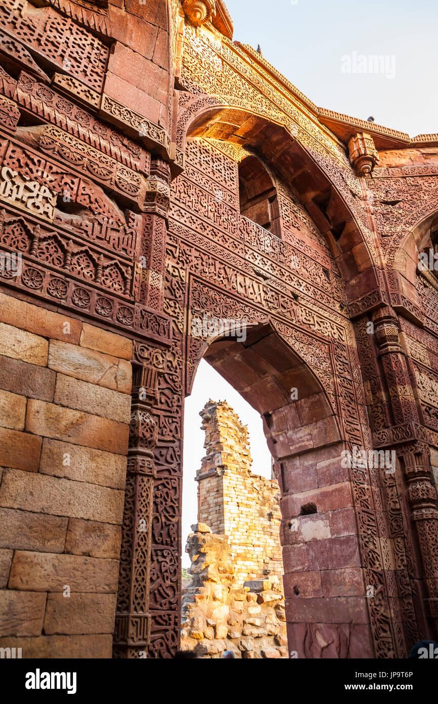 The ruins of Qutb complex, Delhi, India. - Stock Image