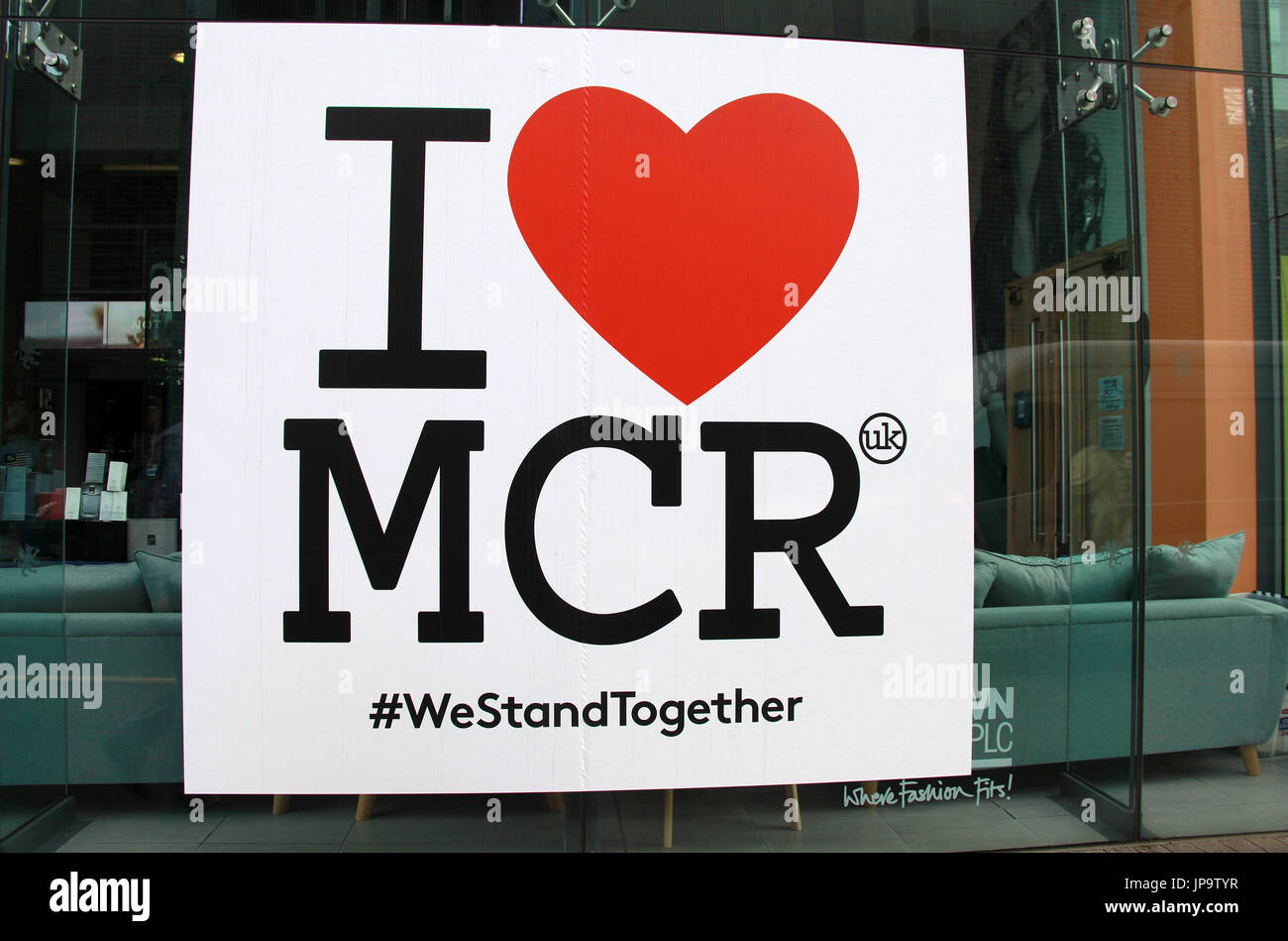 I love Manchester sticker on a Northern Quarter  store window - Stock Image