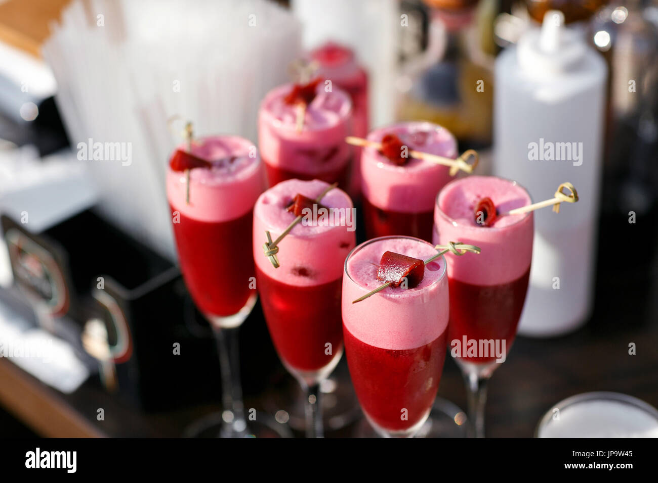 Strawberry alcoholic cocktail drinks and fruit. Stock Photo