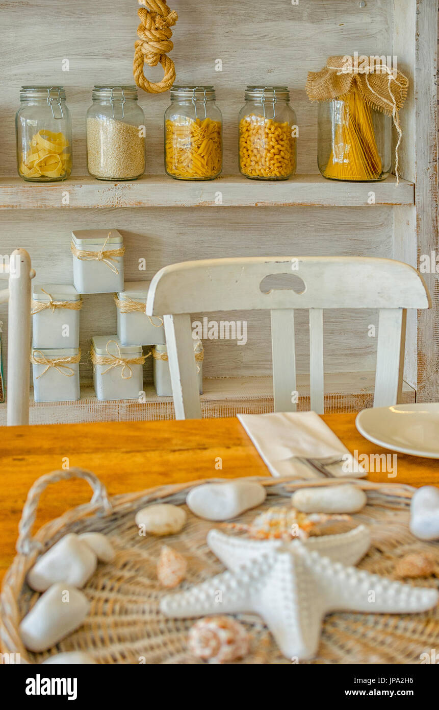 interior view of a charming mediterranean restaurant - Stock Image