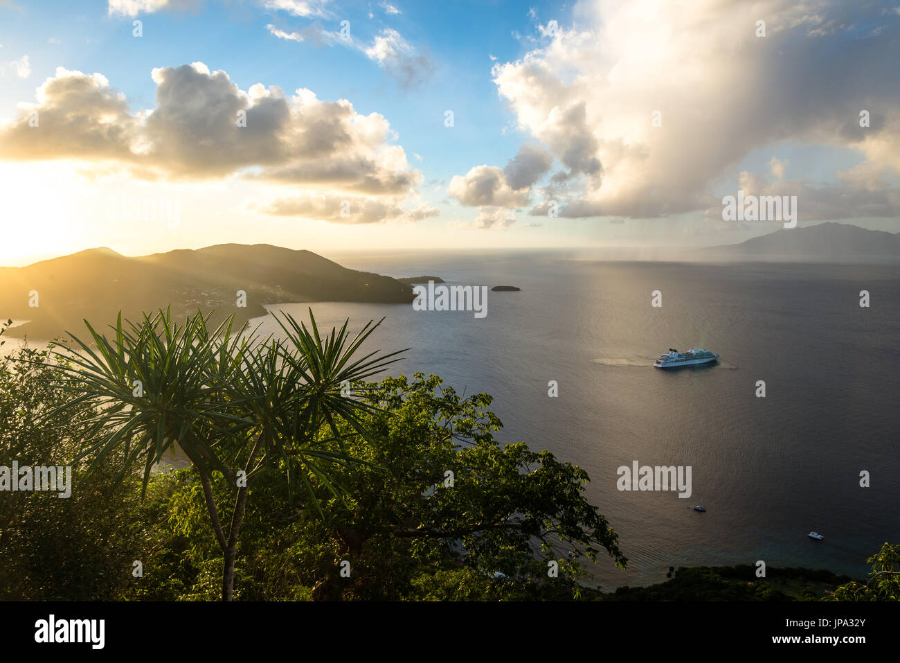 Island of the Saints during sunset, Guadeloupe - Stock Image