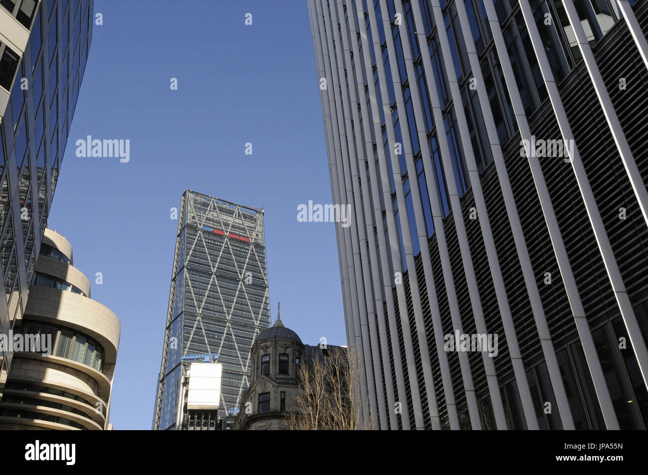 The Modern skyline of the City of London with The Cheesegrater and Walkie Talkie Buildings London England - Stock Image
