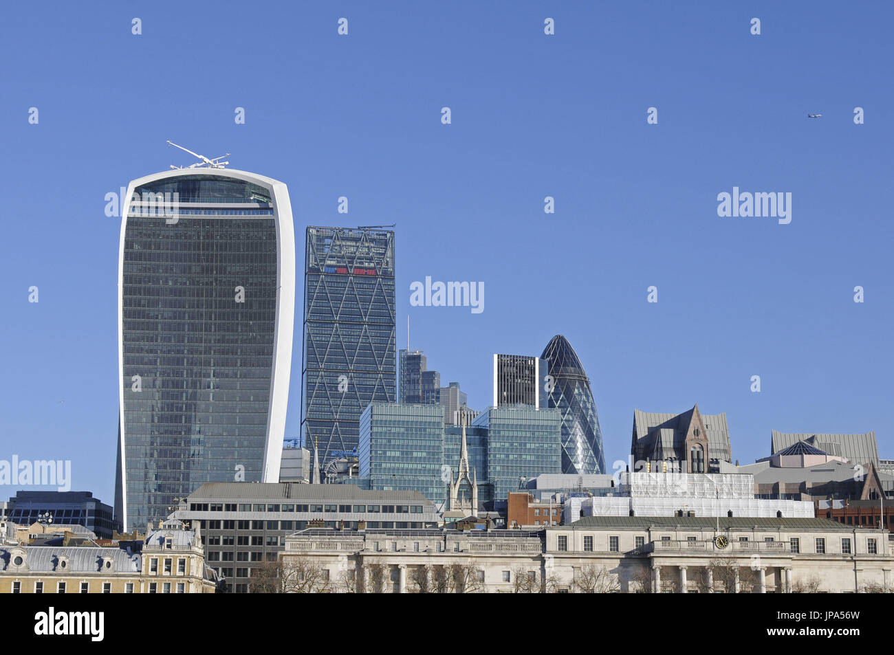 The view to the Modern Skyline of City of London with the Walkie Talkie, The Gherkin and Cheesegrater Buildings London England - Stock Image