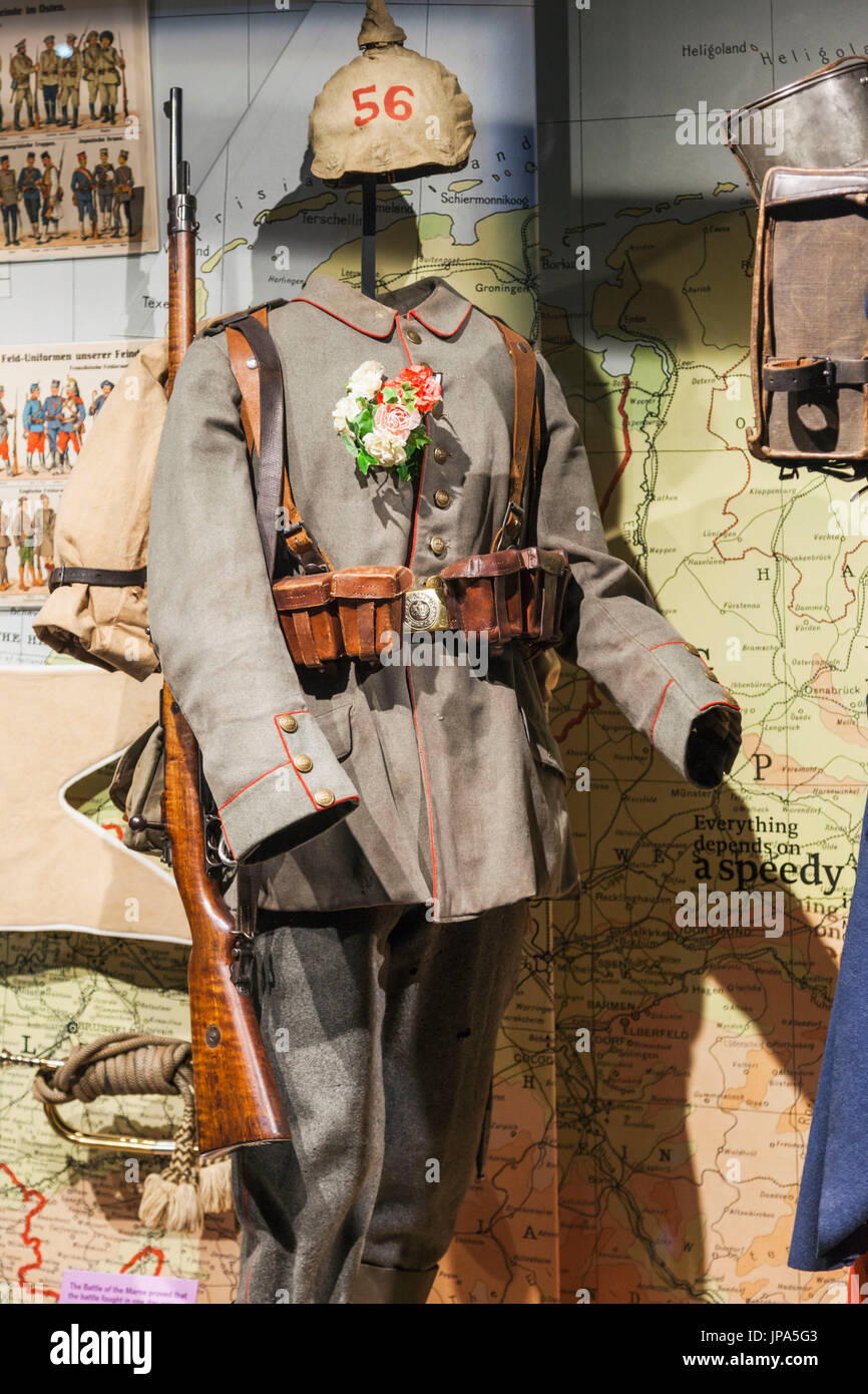 England, London, Lambeth, Imperial War Museum, WWI German Military Uniform - Stock Image