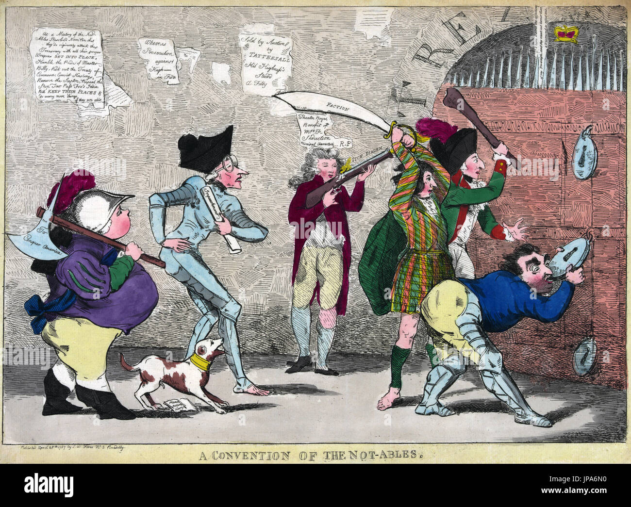 GEORGE CRUIKSHANK (1792-1878) English illustrator.  'A Convention of the Not-Ables' . Cartoon from 1787  showing Edmund Burke, Charles Fox. Lord North, the Prince of Wales and others trying to break into the Royal Treasury - Stock Image