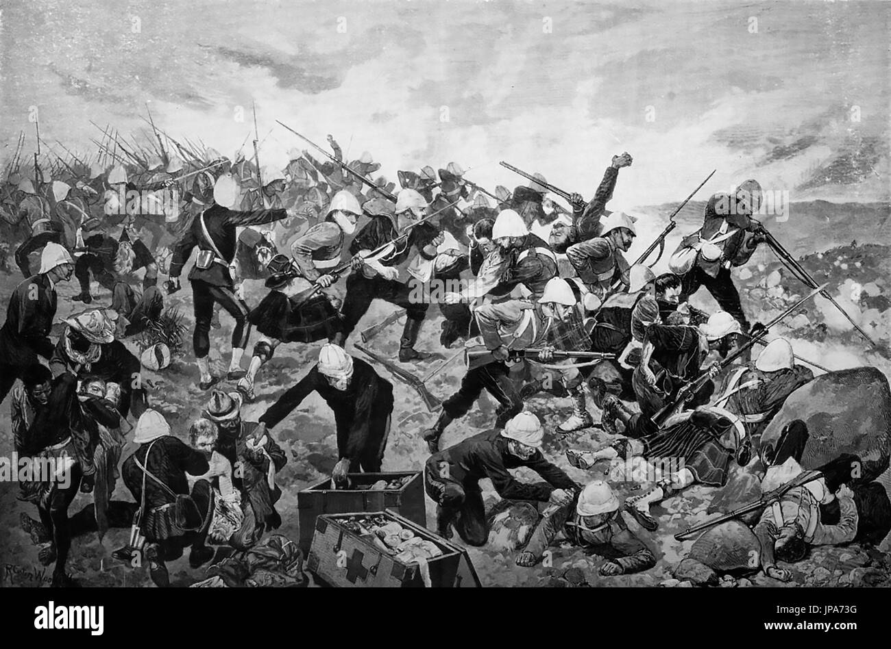 BATTLE OF MAJUBA HILL, 27 February 1881. Final battle of the First Boer War.  British troops under Major-General George Colley. Engraving from Illustrated London News. - Stock Image