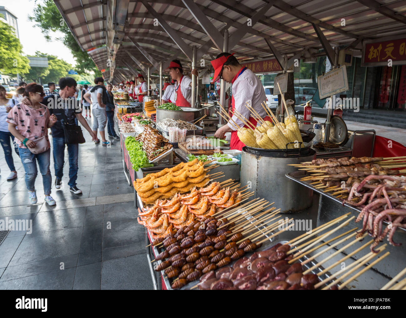 China, Beijing City, Wangfujing District, food market - Stock Image