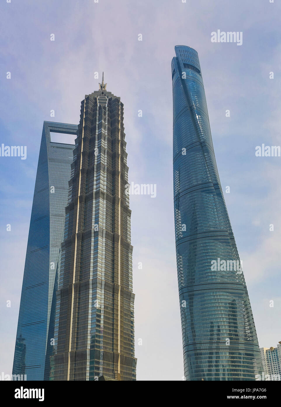 China, Shanghai City, Pudong District, Lujiazui, World Financial Center, Jinmao Building and Shanghai Tower - Stock Image