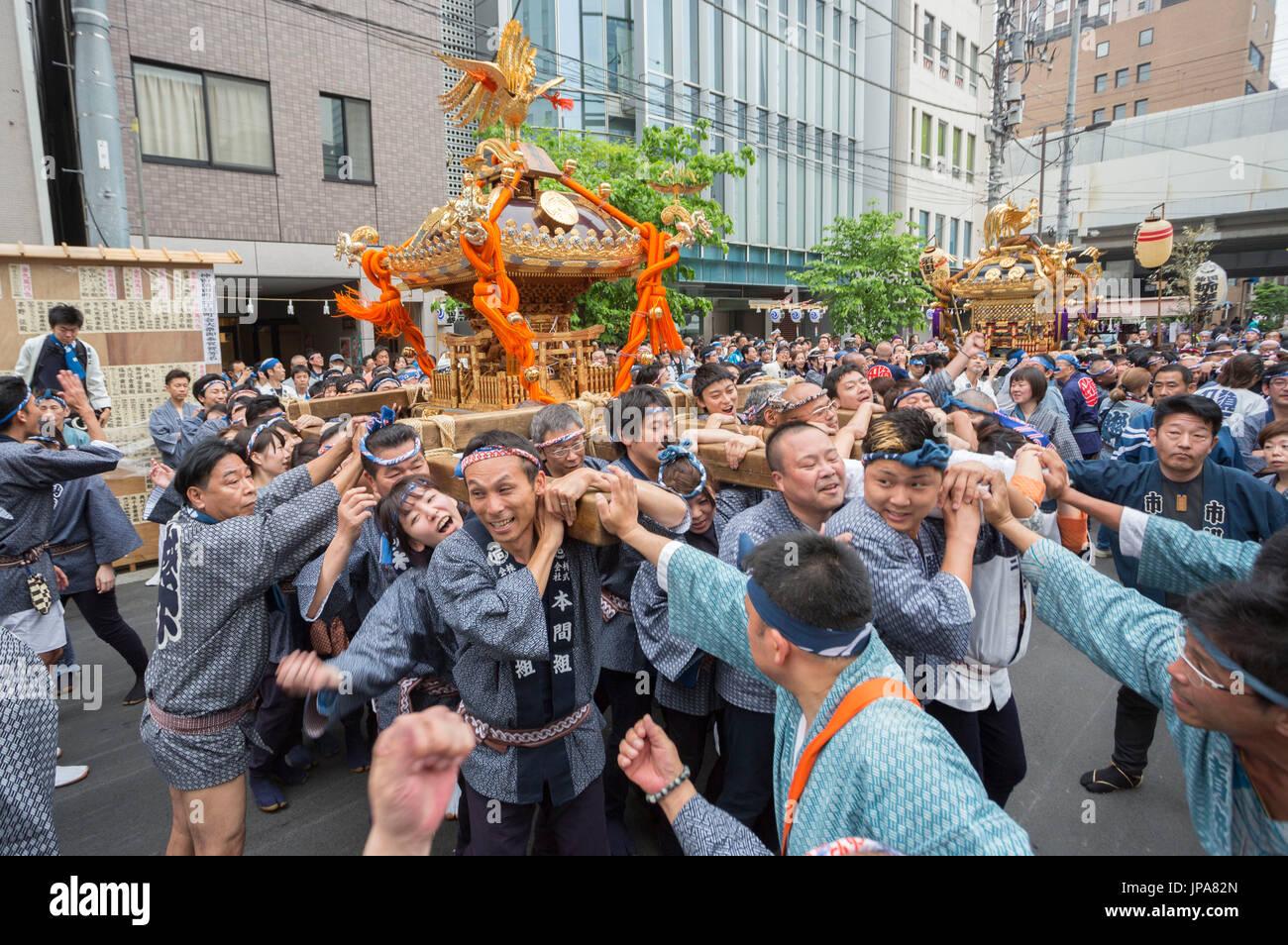 Japan, Tokyo City, Akihabara Area, Spring Festival, Mikoshi - Stock Image