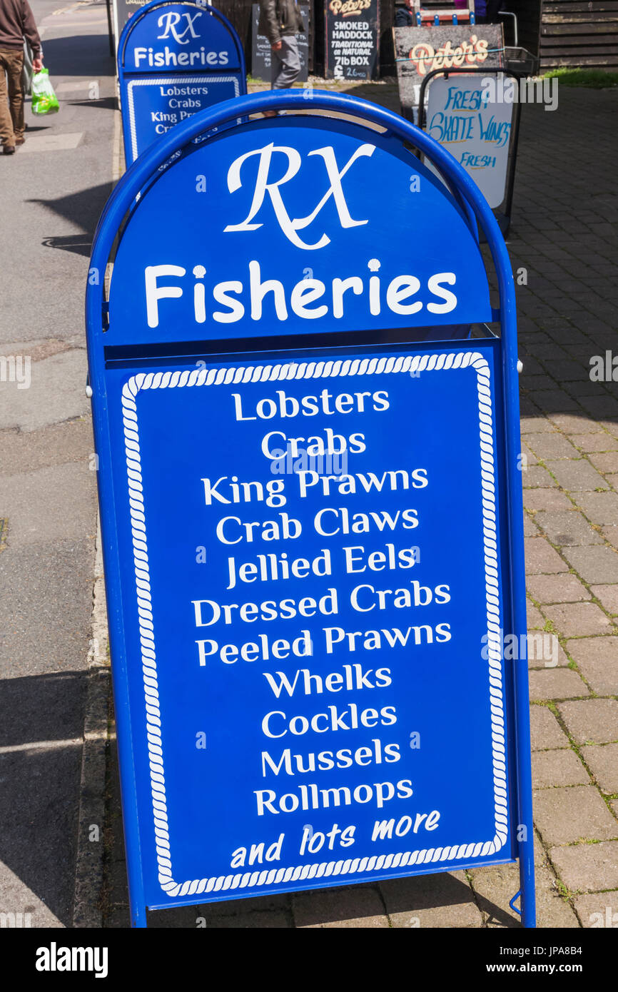 England, East Sussex, Hastings, Old Town, Fish Shop Sales Board - Stock Image