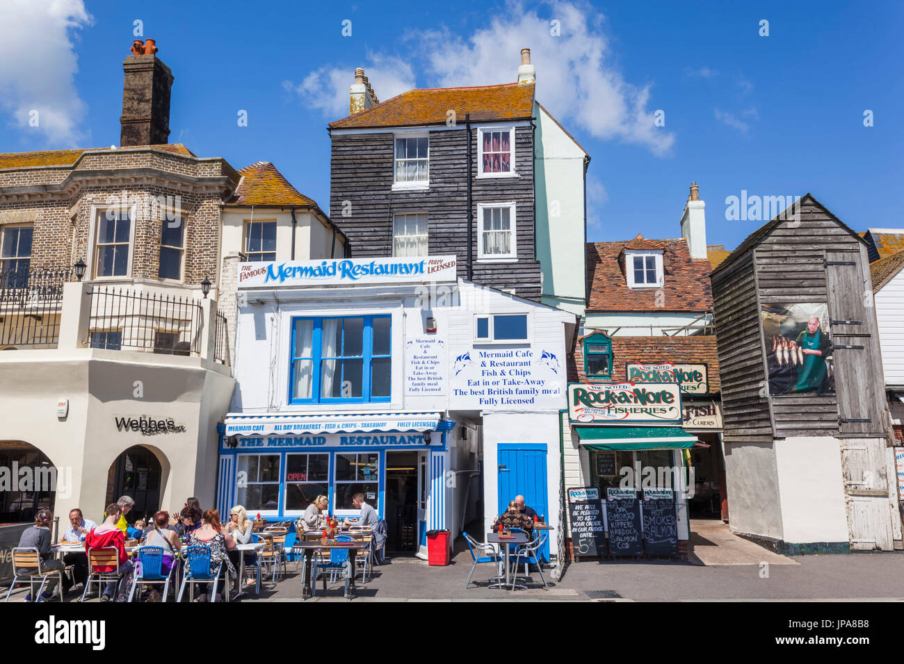 England, East Sussex, Hastings, Old Town, Seafood Restaurant - Stock Image