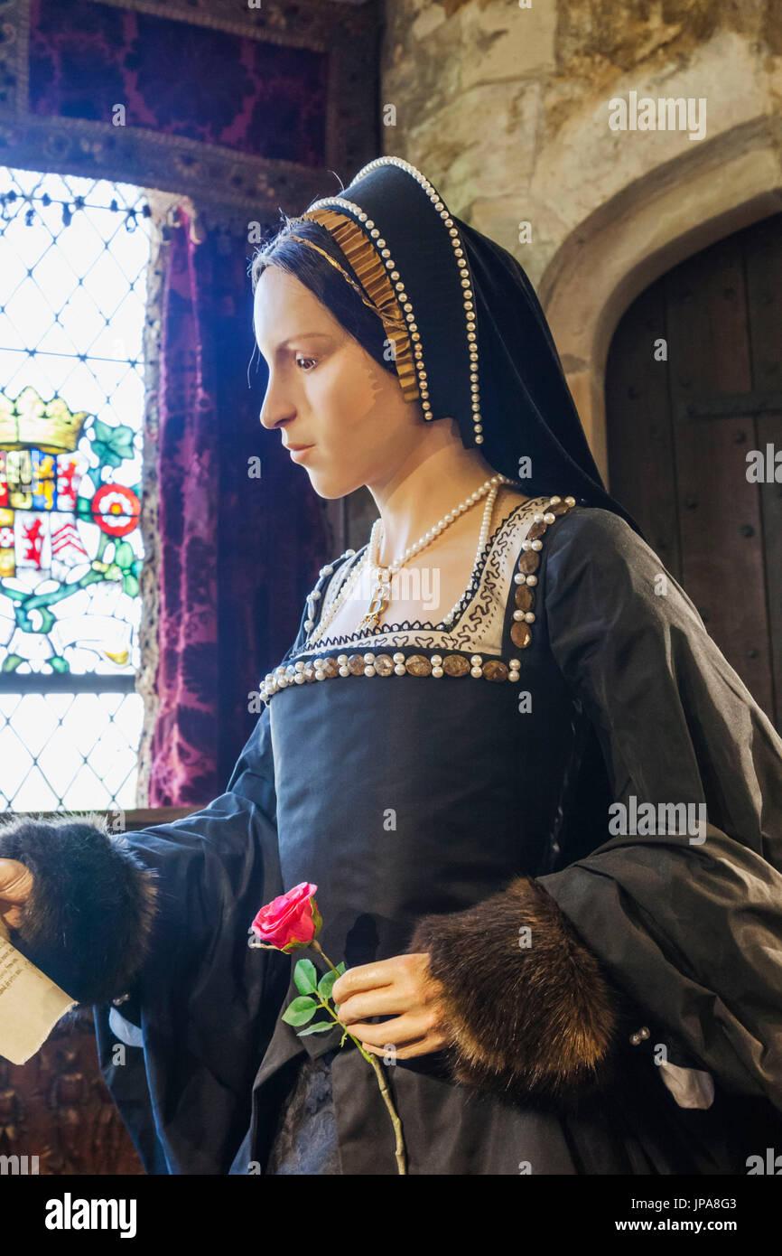 England, Kent, Hever, Hever Castle, Waxwork Figure of Anne Boleyn - Stock Image