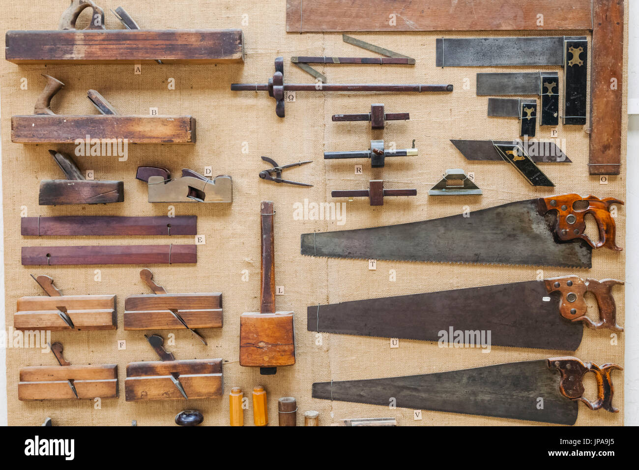 England, West Sussex, Singleton, Weald and Downland Open Air Museum, Display of Historical Carpenters Tools - Stock Image