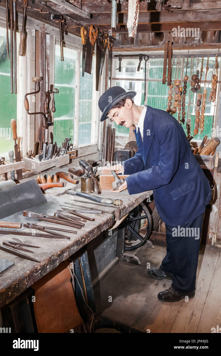 England, West Sussex, Singleton, Weald and Downland Open Air Museum, Exhibit of Late 19th century Plumbers Workshop - Stock Image