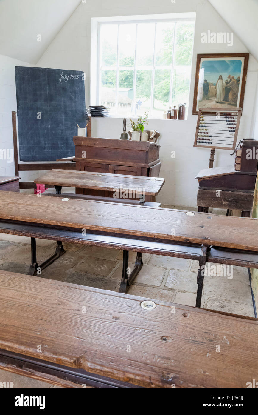 England, West Sussex, Singleton, Weald and Downland Open Air Museum, Exhibit of School Classroom dating from 1851 - Stock Image
