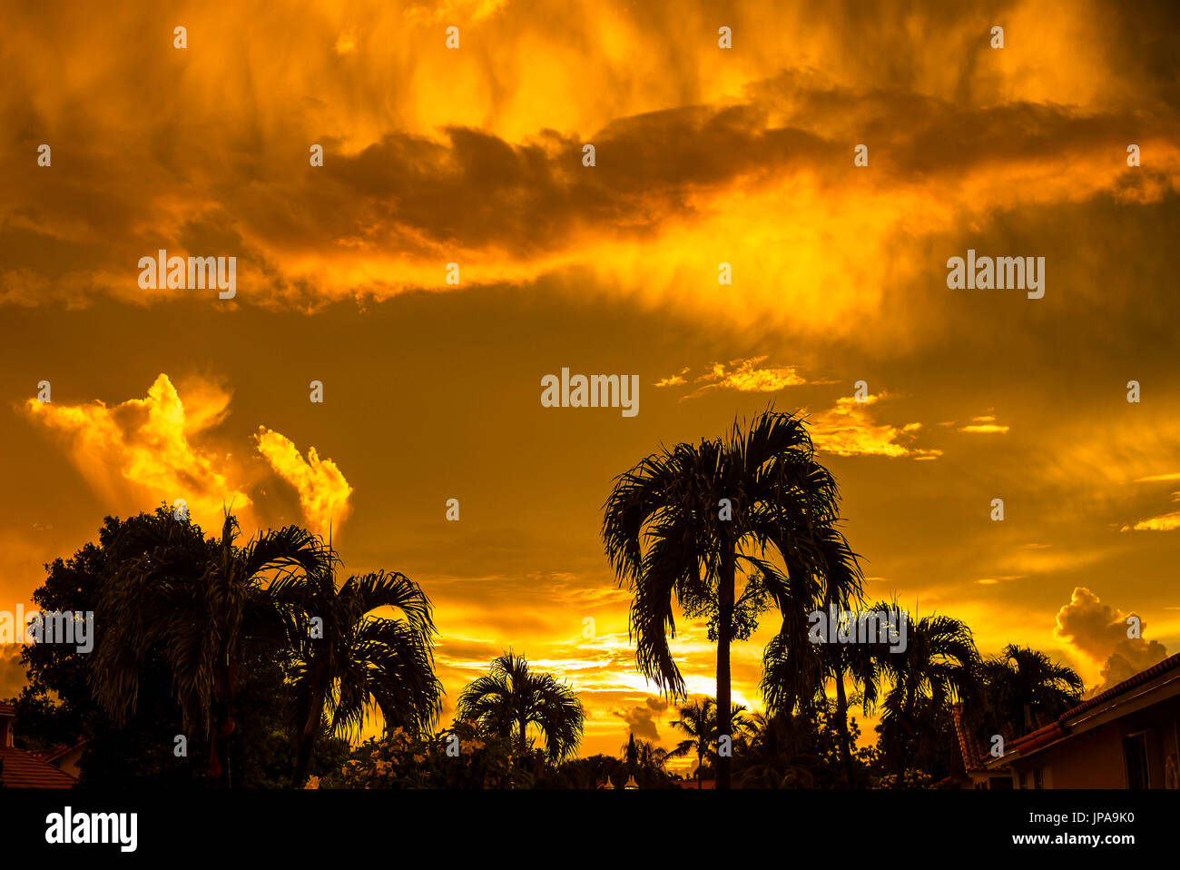 A very weird Sunrise during Erika Tropical Storm - Stock Image
