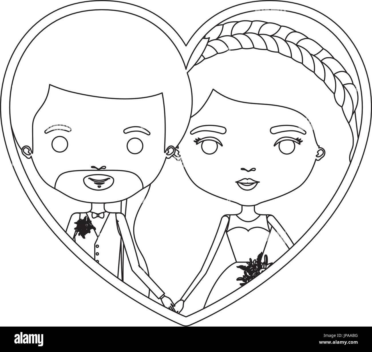 monochrome silhouette heart shape portrait caricature of newly married couple groom with formal wear and bride with wavy long hairstyle - Stock Image