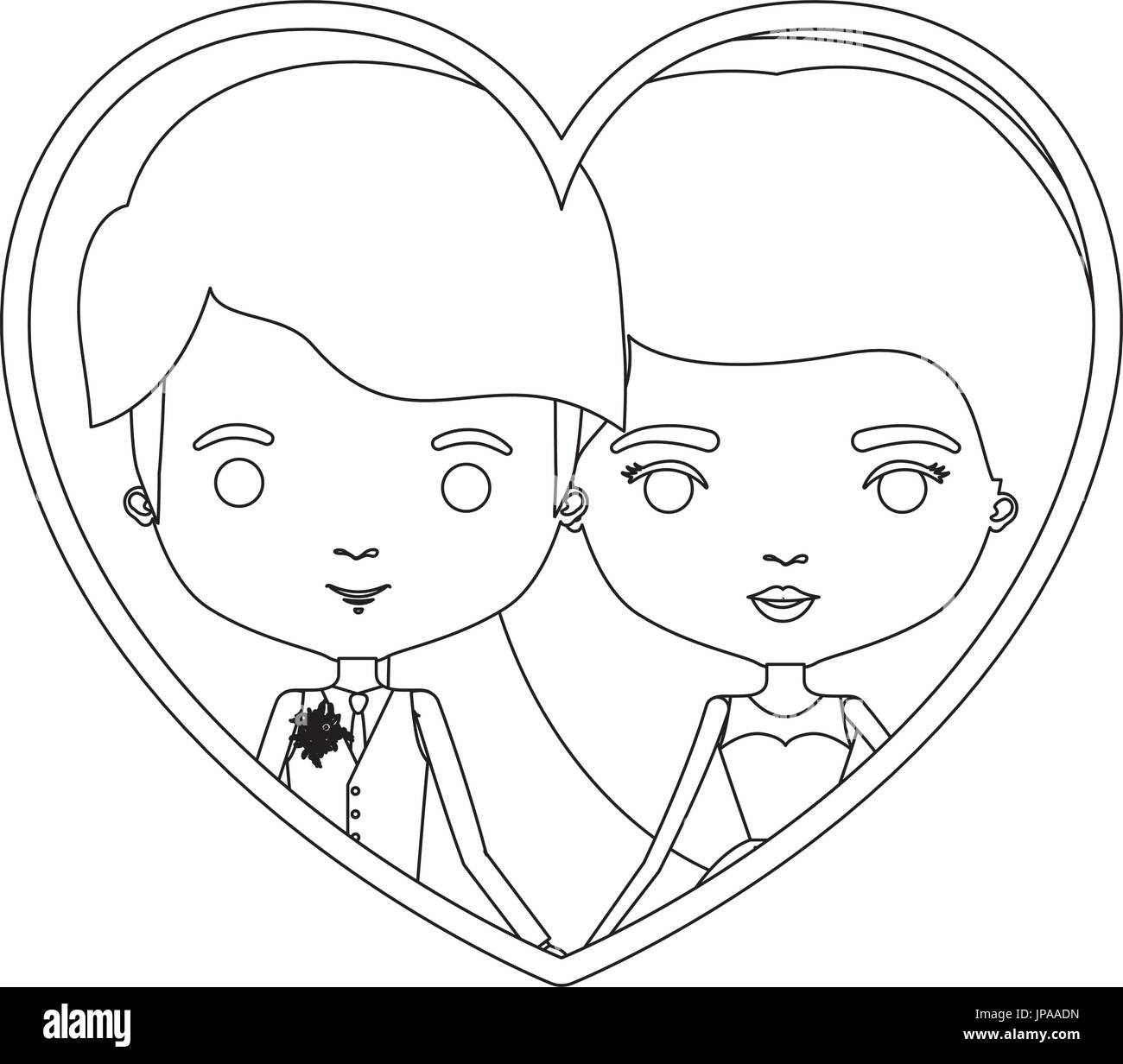 monochrome silhouette heart shape portrait caricature of newly married couple young groom with formal wear and bride with long hairstyle - Stock Image