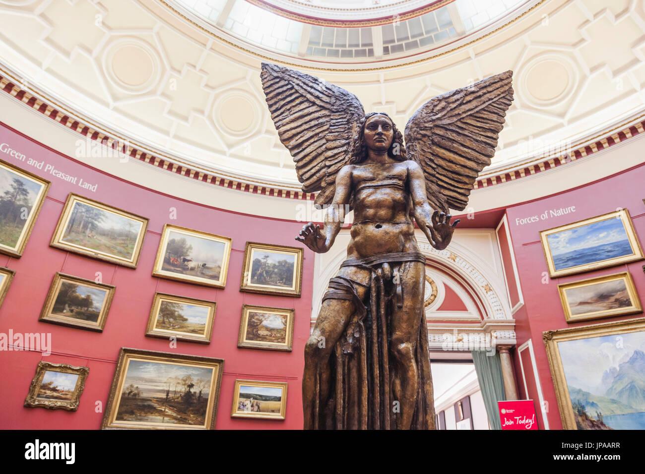 England, West Midlands, Birmingham, Birmingham Museum and Art Gallery, Bronze Statue of Lucifer by Jacob Epstein - Stock Image