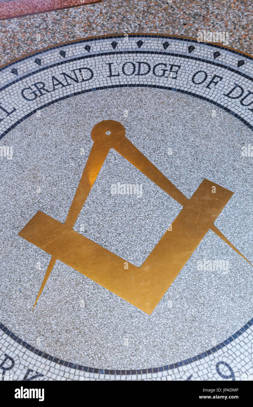 England, County Durham, Beamish Open Air Museum, The Freemasons Grand Lodge, The Masonic Square and Compass Sign - Stock Image