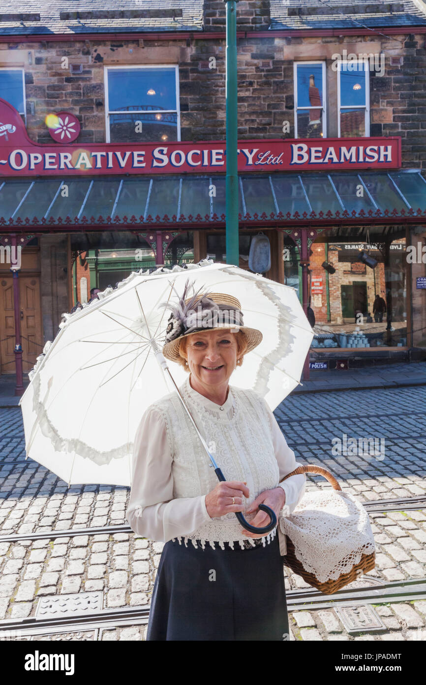 England, County Durham, Beamish Open Air Museum, Lady in Victorian Dress - Stock Image