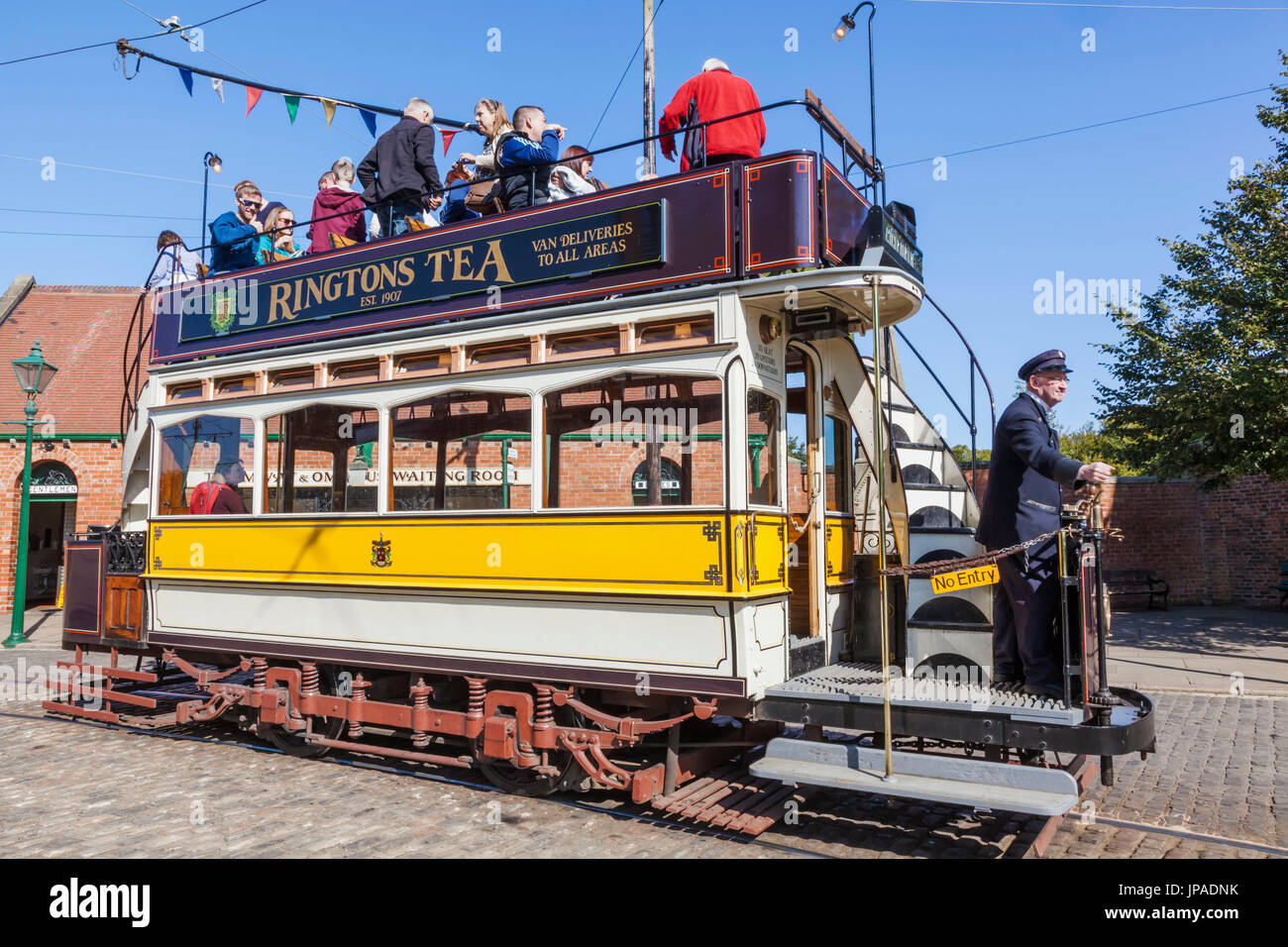 England, County Durham, Beamish Open Air Museum, Historic Tram - Stock Image