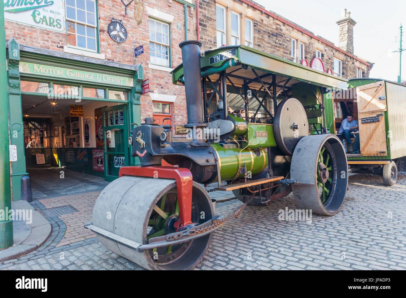 England, County Durham, Beamish Open Air Museum, Vintage Steamroller - Stock Image