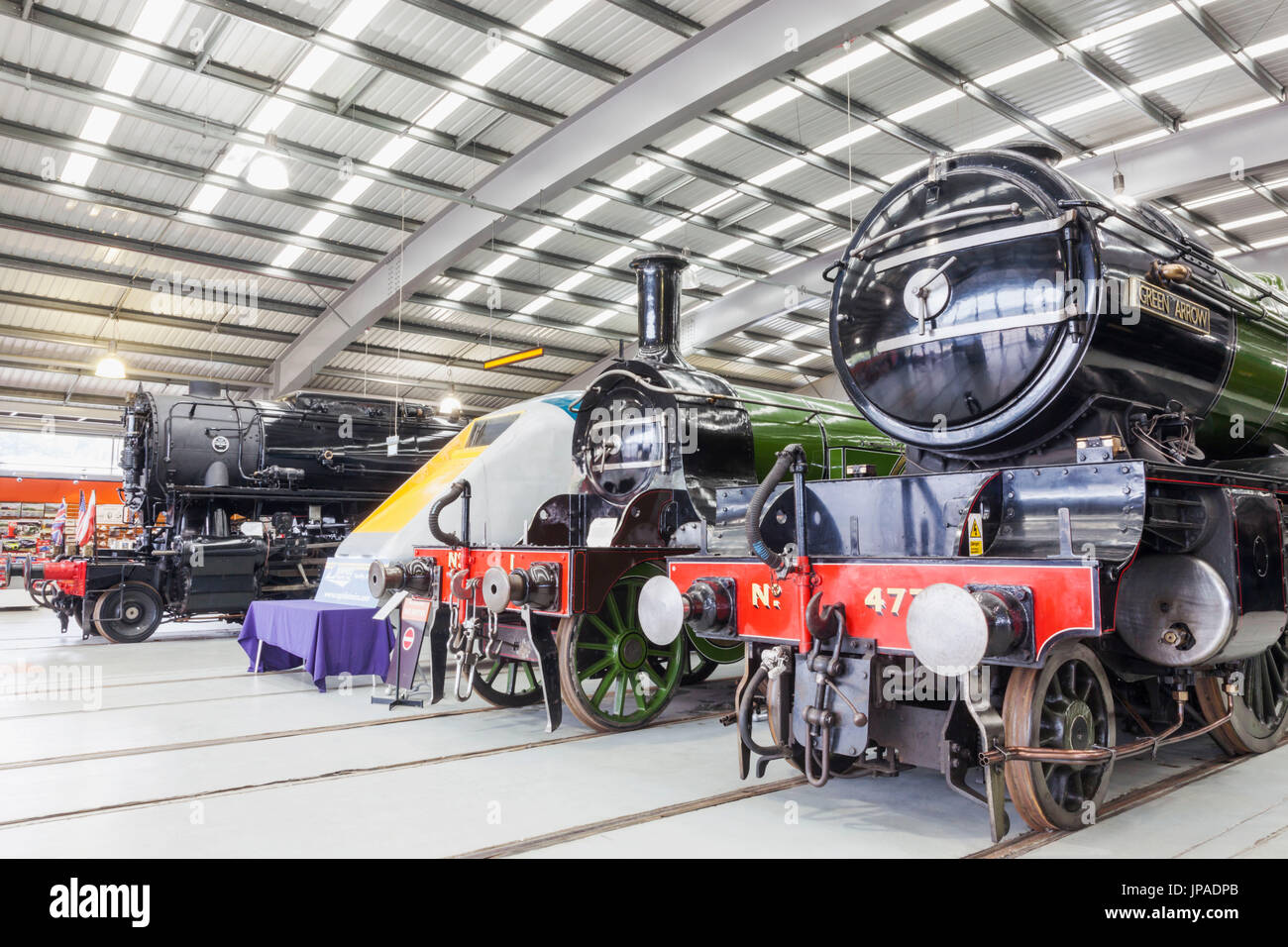 England, County Durham, Shildon, Locomotion National Railway Museum, Display of Historical Train Engines - Stock Image