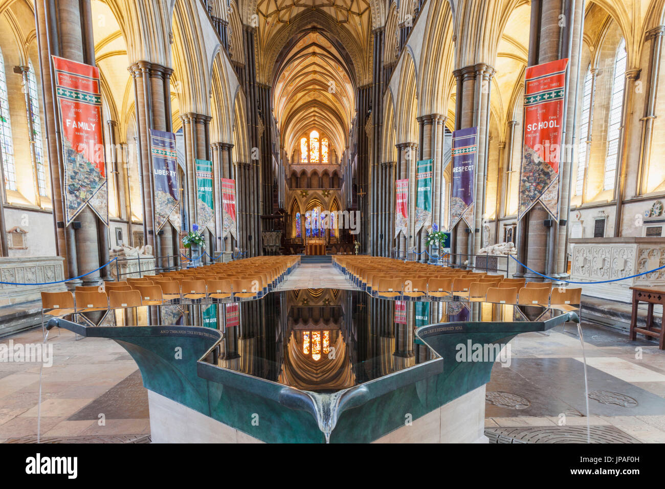 England, Wiltshire, Salisbury, Salisbury Cathedral, The Baptismal Font by William Pye - Stock Image