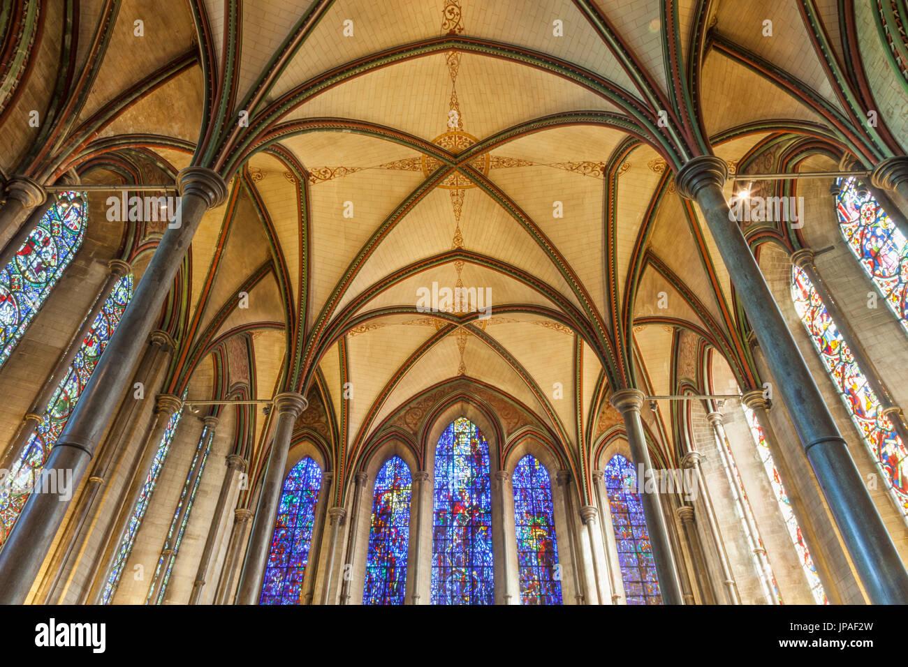 England, Wiltshire, Salisbury, Salisbury Cathedral, The Prisoners of Conscience Window - Stock Image