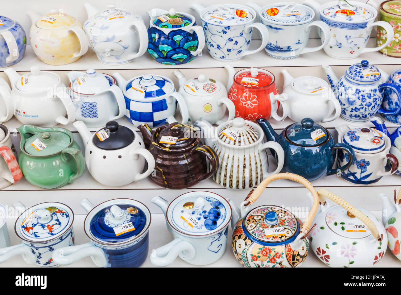 Japan, Honshu, Tokyo, Asakusa, Shop Display of Teapots - Stock Image