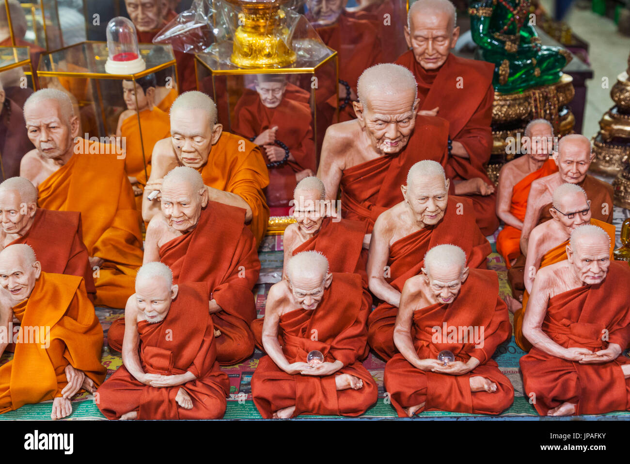 Thailand, Bangkok, Antique Market display of Lifelike Models of Deceased Temple Abbots - Stock Image