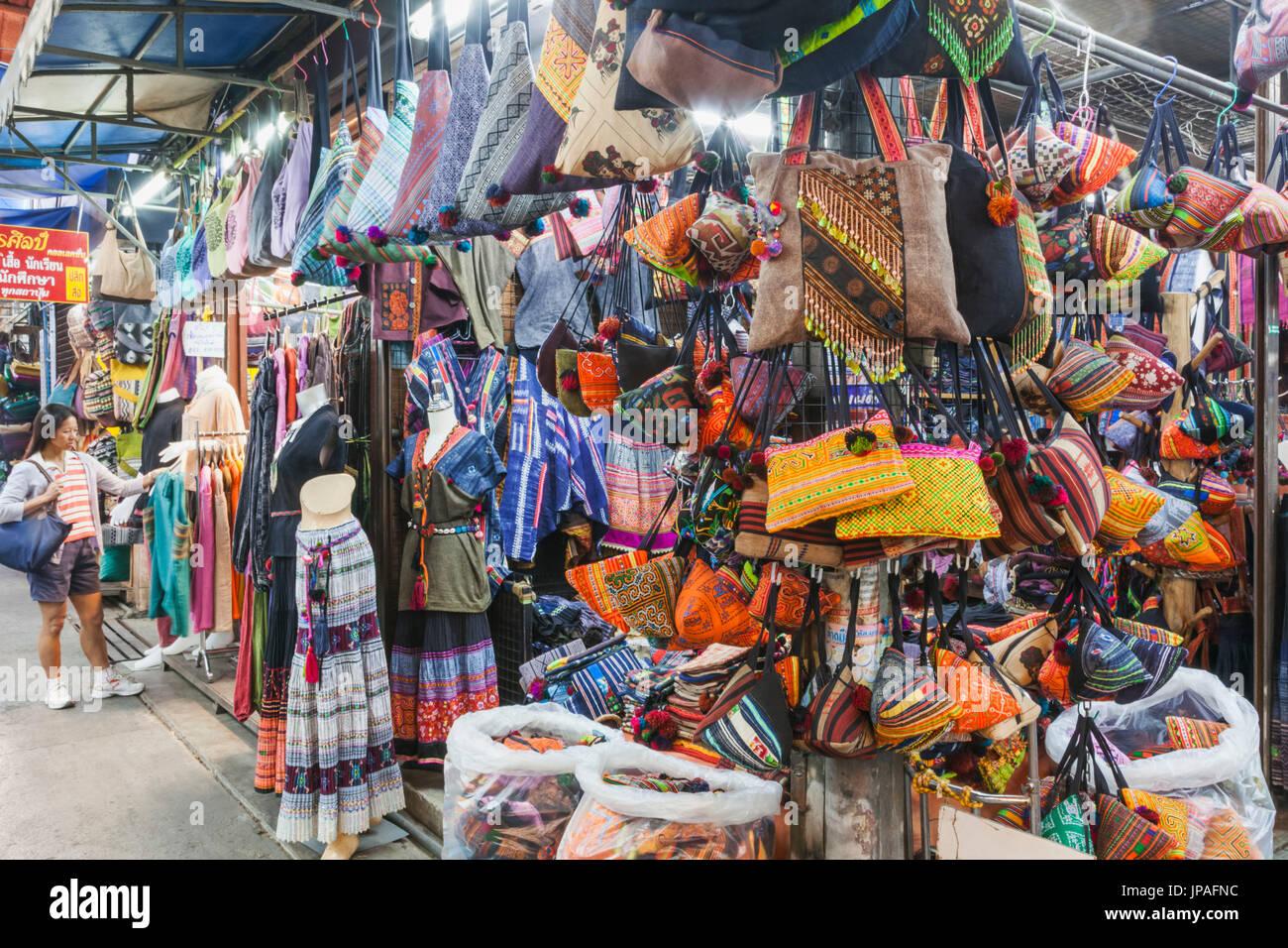 Thailand, Bangkok, Chatuchak Market, Shop Display of Ethnic Hilltribe Products - Stock Image