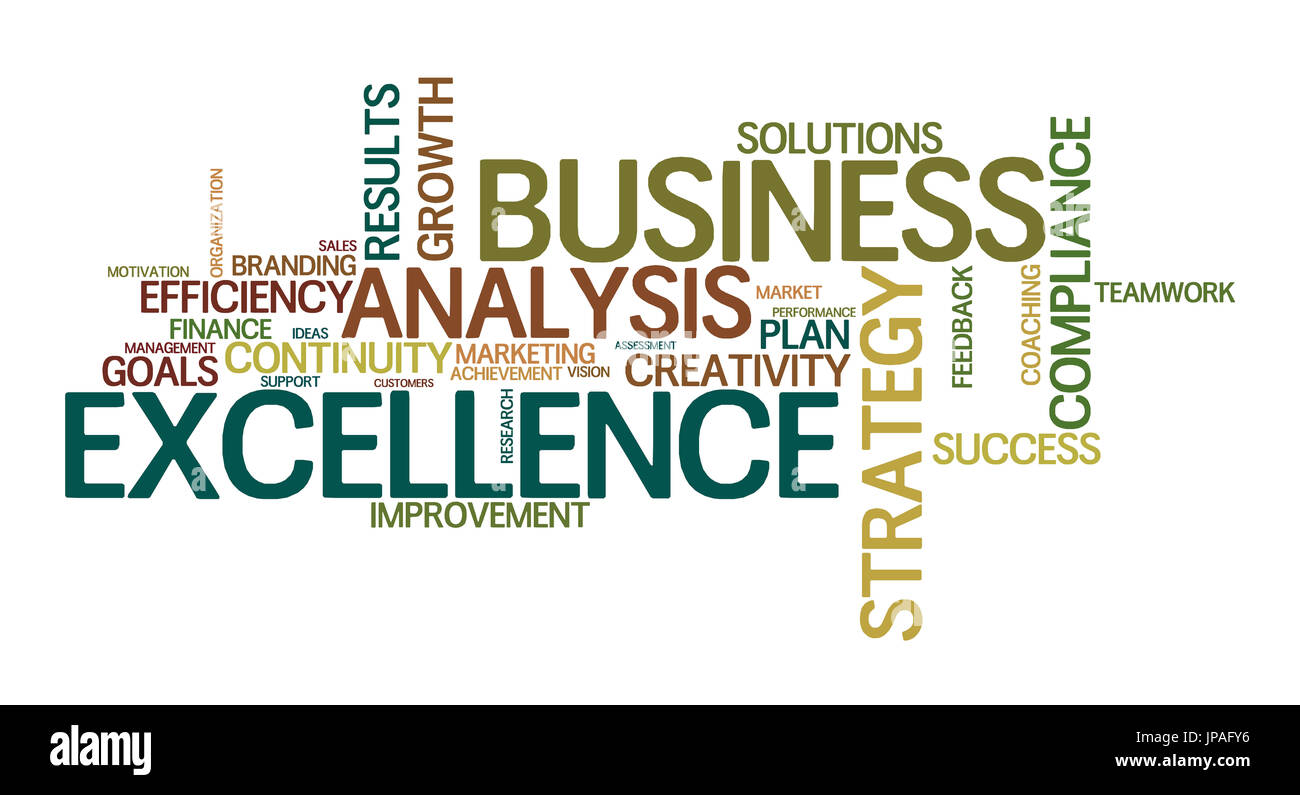 word cloud for business, analysis, Strategie and excellence - Stock Image