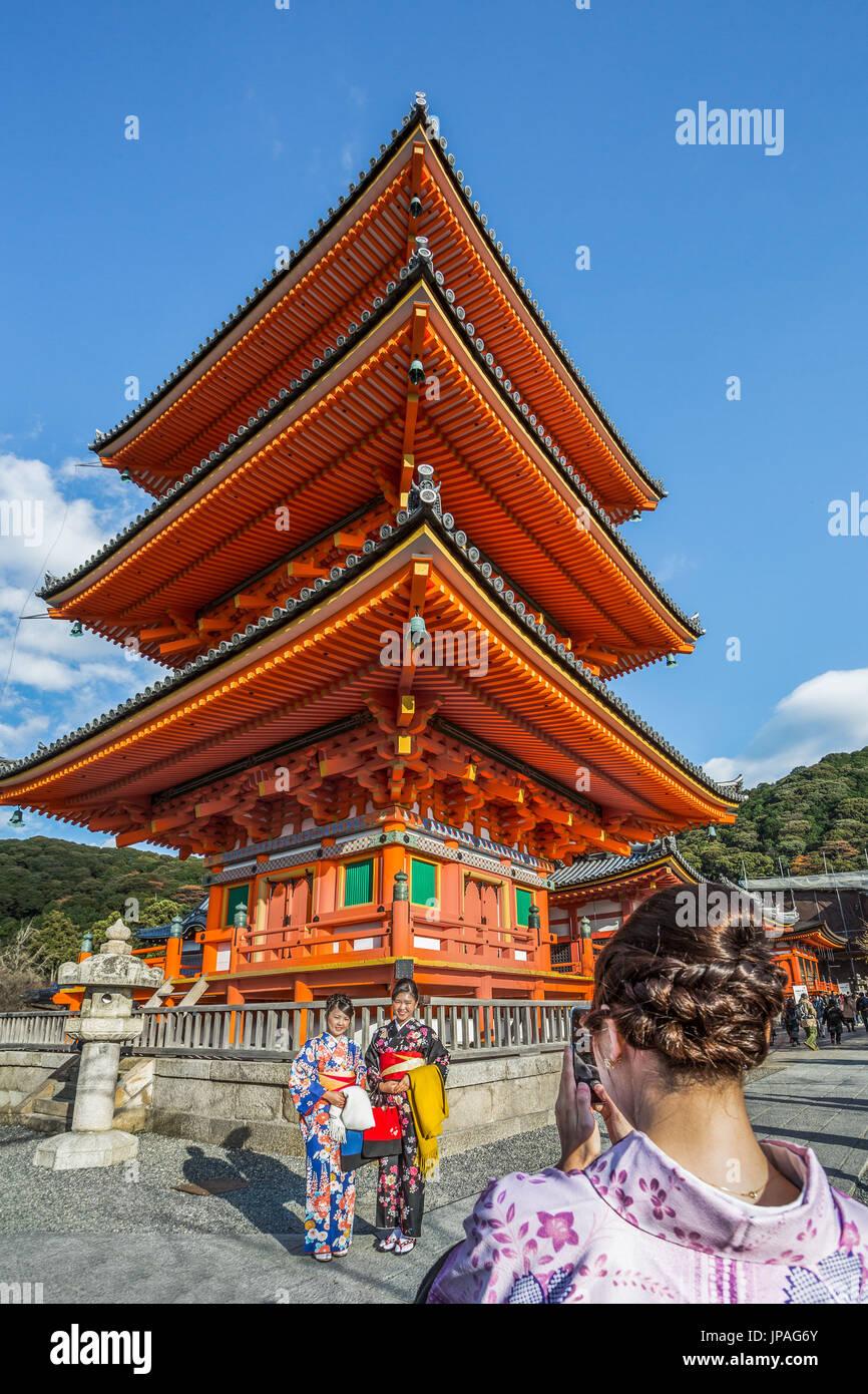 Japan, Kyoto City, Three Story Pagoda, Otow-san, Kiyomisu Dera - Stock Image