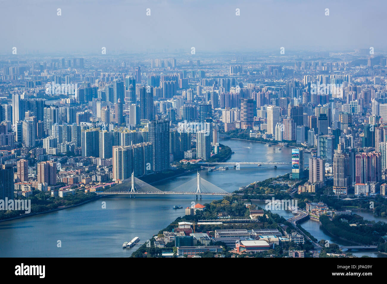 China, Guangdong Province, Guangzhou City, Central Guangzhou skyline, Pearl River - Stock Image