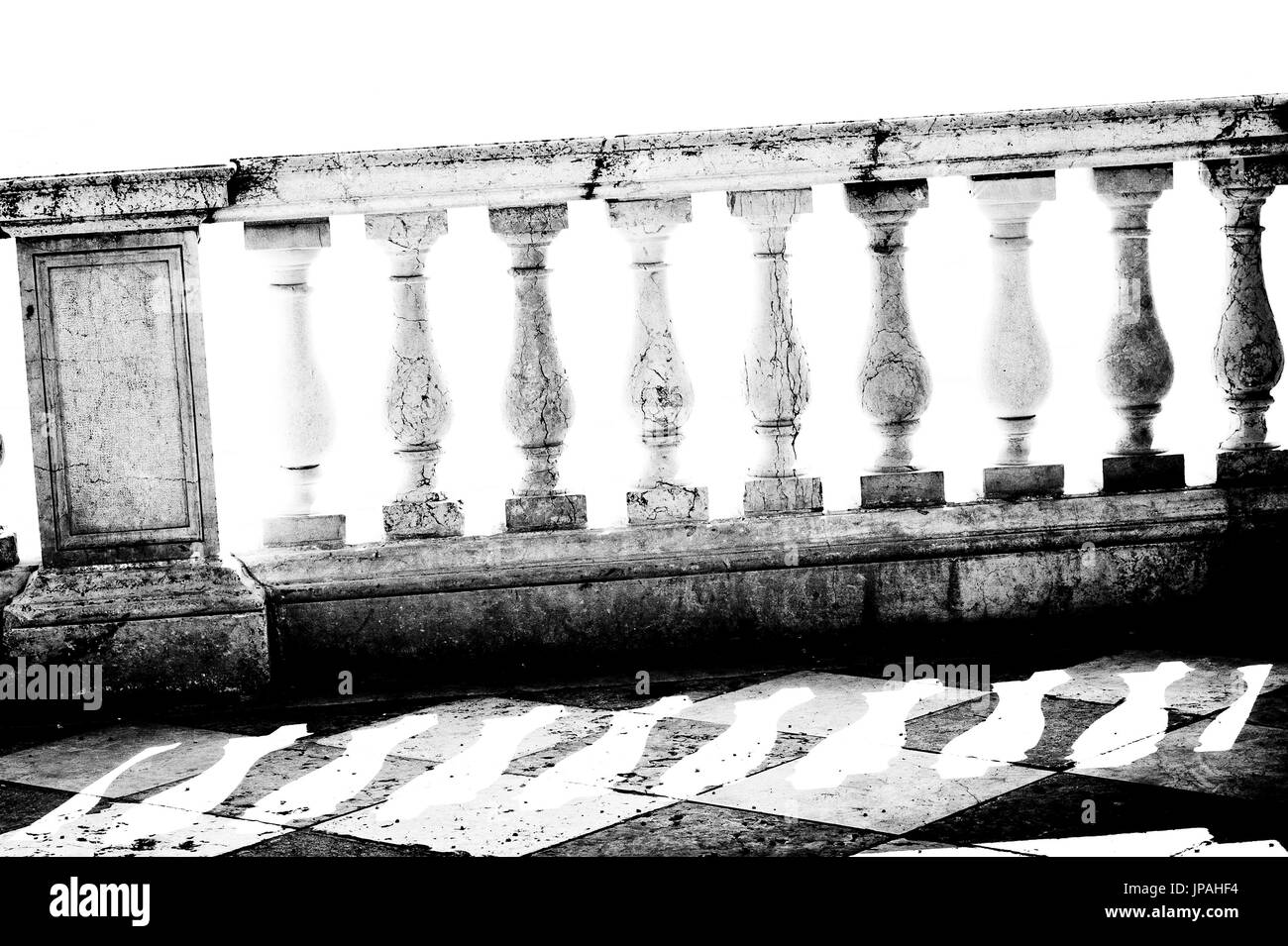 Historical marble railing in Venice. - Stock Image