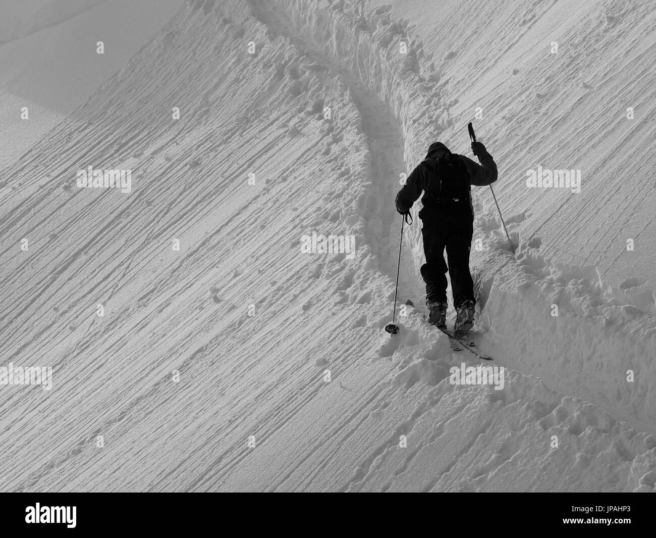 Skier on the way to the summit of the Lacherspitze - Stock Image